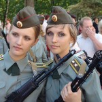 Some communist girl soldiers ready to kill