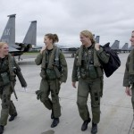 Four Women F-15 Eagle pilots with their handbags.