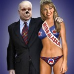 The skeleton guy and Palin as Miss Alaska in hot outfit