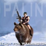 Palin riding a grizzly bear